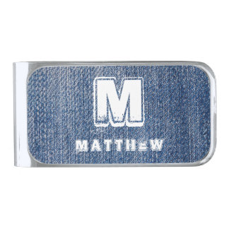 Blue Jeans White Monogram Name Personalized Silver Finish Money Clip