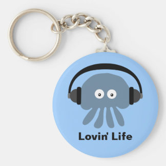 Blue jellyfish & headphones Lovin' Life keychain