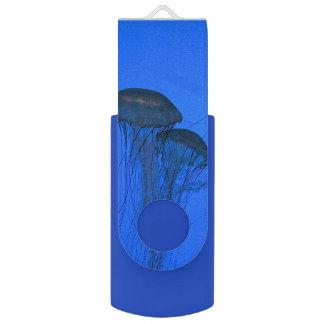 Blue Jellyfish Swivel USB 2.0 Flash Drive