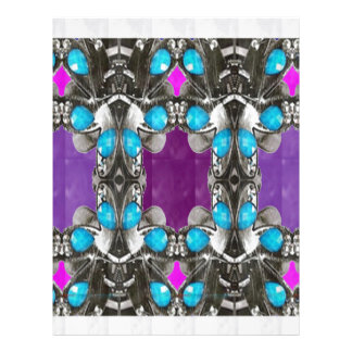 BLUE Jewel Stone Imitation Pattern GIFTS FUN HAPPY Letterhead Design