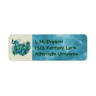 Blue Jeweled Dragon Return Address Label