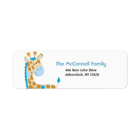 Blue Jungle Giraffe PRINTABLE ADDRESS LABELS