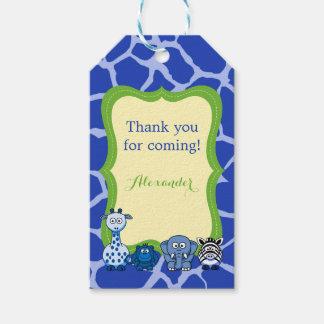 Blue jungle safari animal boy thank you gift tags