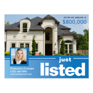 Blue Just listed real estate advert template Postcard