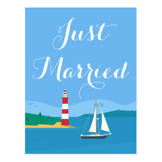 Blue Just Married Lighthouse & Sailboat Wedding Postcard
