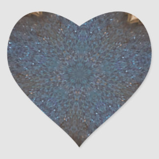 Blue Kaleidoscope Star Background Heart Sticker