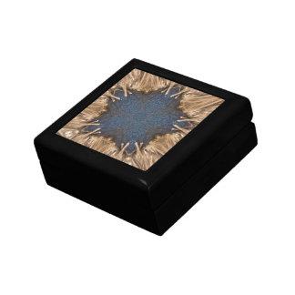 Blue Kaleidoscope Star Wicker Background Gift Box