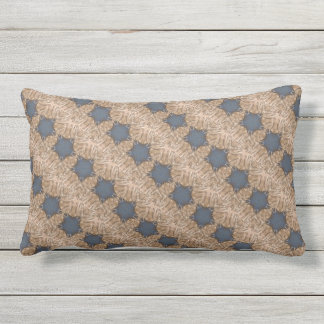 Blue Kaleidoscope Star Wicker Background Outdoor Pillow