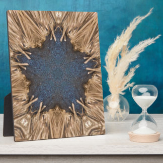 Blue Kaleidoscope Star Wicker Background Plaque