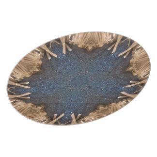Blue Kaleidoscope Star Wicker Background Plate