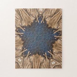 Blue Kaleidoscope Star Wicker Background Puzzle