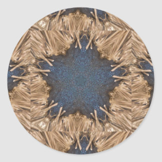Blue Kaleidoscope Star Wicker Background Round Sticker