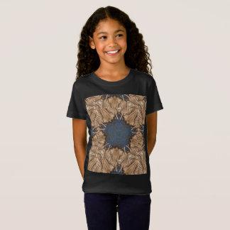 Blue Kaleidoscope Star Wicker Background T-Shirt