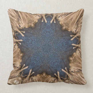 Blue Kaleidoscope Star Wicker Background Throw Pillow