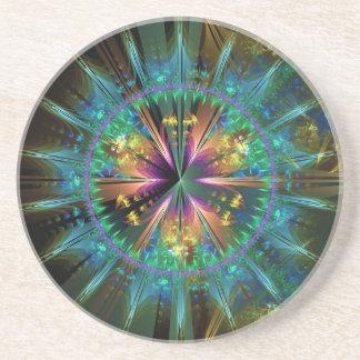 Blue Kaleidoscopic Sun-Burst Coasters