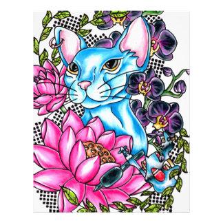 blue kat tattoo customized letterhead
