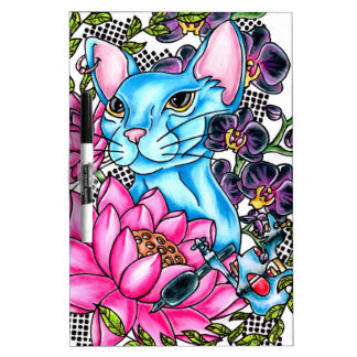 blue kat tattoo dry erase board
