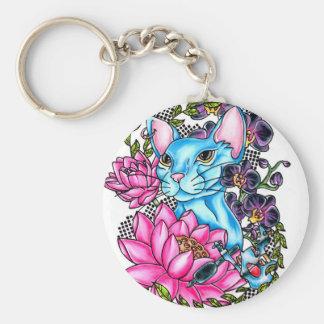 blue kat tattoo keychain