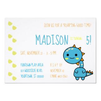 Blue Kawaii Dinosaur Birthday Party Invitation
