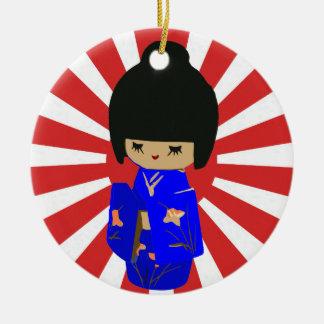 Blue  Kawaii Kokeshi Doll Single sided ornament