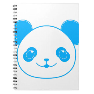 Blue Kawaii Panda Bear Spiral Notebook