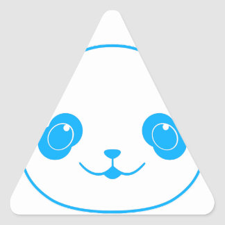 Blue Kawaii Panda Bear Triangle Sticker