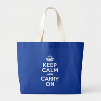 Blue Keep Calm and Carry On Large Tote Bag
