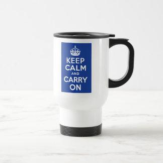 Blue Keep Calm and Carry On Travel Mug