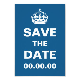 Blue Keep Calm Save the Date Card