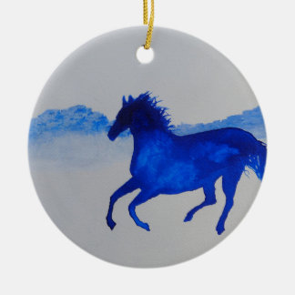 Blue Kentucky Horse running in the mist Round Ceramic Ornament