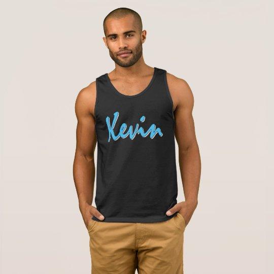Blue Kevin Logo on Black Tank Top