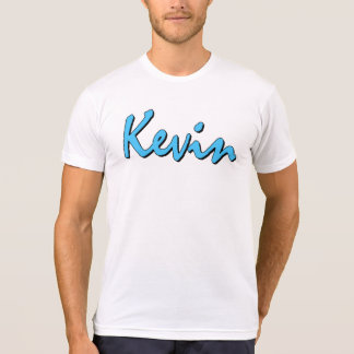 Blue Kevin Logo on White T Shirt