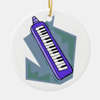Blue Keytar portable 80s keyboard piano graphic Round Ceramic Ornament