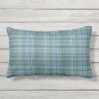 Blue Khaki Glen Plaid Outdoor Lumbar Pillow