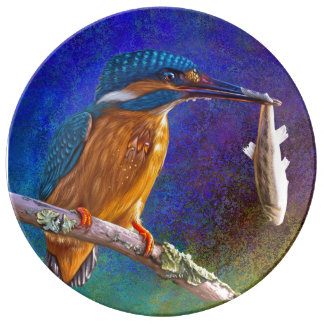 Blue kingfisher plate
