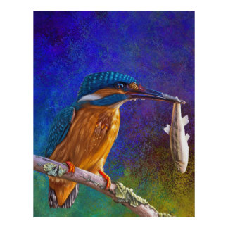 Blue kingfisher poster