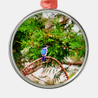 BLUE KINGFISHER QUEENSLAND AUSTRALIA Silver-Colored ROUND ORNAMENT