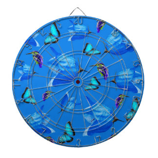 Blue Kingfishers Butterflies And Bell Flowers, Dartboard