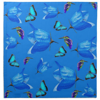Blue Kingfishers Butterflies And Bell Flowers, Napkin