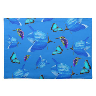 Blue Kingfishers Butterflies And Bell Flowers, Placemat