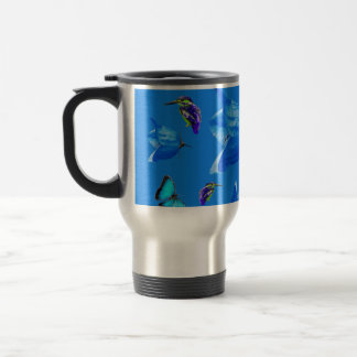 Blue Kingfishers Butterflies And Bell Flowers, Travel Mug