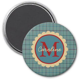 Blue Kitchen Plaid Monogram 3 Inch Round Magnet