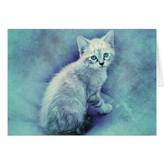 Blue Kitten | Abstract | Watercolor Card