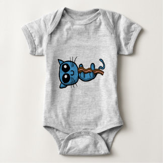 Blue kitten holding bacon strip shirt