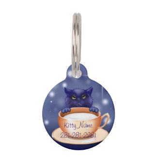 Blue Kitty Cat Pet Name Tag