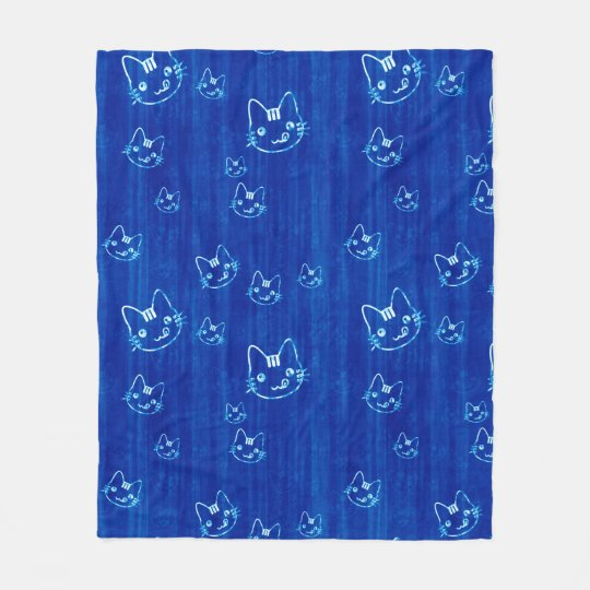 Blue Kitty Faces Fleece Blanket