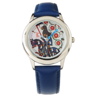 BLUE KNIGHT MEDIEVAL MINIATURE MONOGRAM WATCH