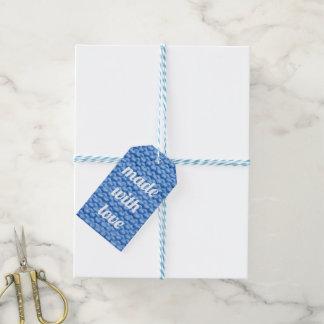 Blue Knit Garter Stitch Gift Tags
