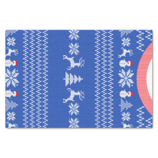Blue Knit Winter Christmas Holiday Sweater Custom Tissue Paper