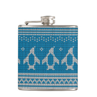 Blue Knitted Background Hip Flask
